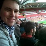 happy fiance at anfield