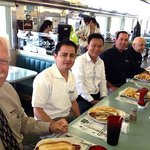 My gang, enjoying awesome American-style lunches at the Olympia Diner