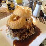 The meatloaf with mash gravy and large onion rings .....yum