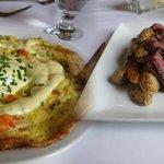 Lobster fritata and  steak & potatoes