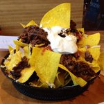 Nacho appetizer with beef brisket
