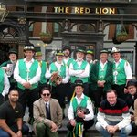 Exeter Morris Men plus manager and other customers