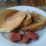 Hot cakes, French Toast, and sausage at Windows Cafe
