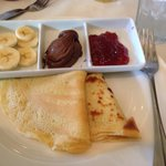 Crepes with jam, bananas, & Nutella