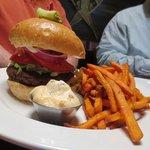 cabin burger, yam fries