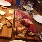 Affettati Misti - selection of our house-cured salumi and assorted antipasti; Cheese plate - ass