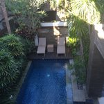 view from upstairs down on the pool