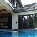 watching the football from the pool