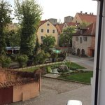 Morning in the Hanseatic city of Visby. View over Packhusplan just outside the hotel.