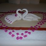 The last night the maid staff created this cute little scene on our bed!