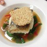 Hake Asian salad tomato chilli broth and prawn toast