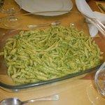 Troffe pasta with pesto sauce
