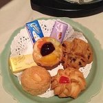 cookies and chocolate serve with hot tea