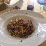 Fettuccini with artichoke and speak.