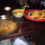 pulled pork, onion rings and chips! DELISH