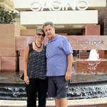 My husband and I in front of the Red Rock Casino