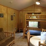 Inside of the cabin. The futon folds out to comfortably sleep two people.