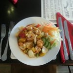 Sweet and sour with seafood