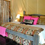 Glamping tent - made up in pink for our girls trip!