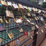 Love lock wall up the hill