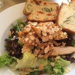 Delish Chicken, pineapple and almond salad wtih gluten free tomato bread