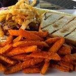 BBQ Burger and sweet potato fries