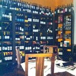 One wall of wines