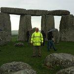 Pat Shelley inside Stonehenge in the rain, 1 May 2014