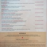 Hotel restaurant menu