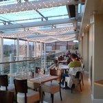 The all glss upper floor of the restaurant