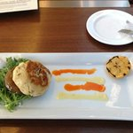 Crab cake with Portabella, at Osteria Pronto in the JW Marriott, Indianapolis