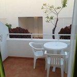 our balcony, groundfloor studio apartment