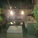 Outdoor roof terrace at night