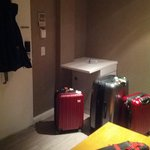 Luggage in front of fridge