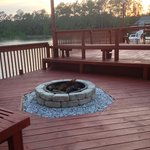 Fire pit on porch of clubhouse