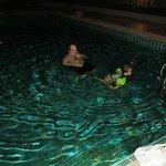 night time in swimming pool