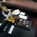 Welcome refreshments, gifts and notes for Accor Platinum status. Very nice touch.