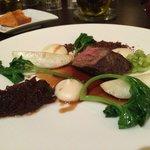 Prato com carne do menu degustação