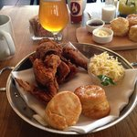 Hot Fried Chicken with honey-butter biscuits and slaw - SO GOOD!
