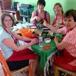 The Girls making Tamales