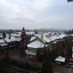 The view from room, snow gently falling one morning