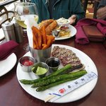 Seared Ahi Tuna with Sweet Potato Chips and Grilled Asparagus