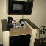 Microwave, refrig, coffee pot