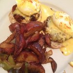 Crabcake Benedict with ugly potatoes dominating