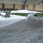 snow drifts in the courtyard  May 12