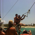 My husband with one of the guides doing the rope swing lol