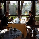 Sunny buffet breakfast in the warm restaurant