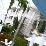rooms viewed through main pool water curtain