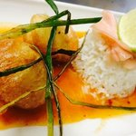 delicious tempura scallops with sweet chilli & timbale of rice