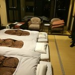 Beds laid out after dinner